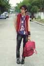 Red-vest-blue-diy-shirt-black-zara-pants-red-sagada-handwoven