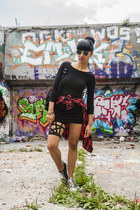 black Forever 21 dress - black Estarer bag - black Zara glasses
