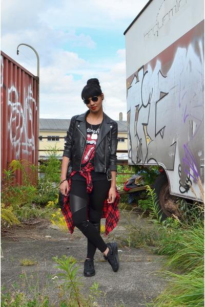 black H&M jacket - Tally Weijl shirt - black GINA TRICOT bag