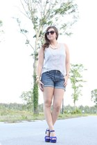 blue suede platforms Steve Madden shoes - silver lace J Crew shirt