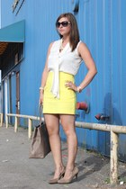 eggshell silk Belk shirt - light yellow high waisted banana republic skirt