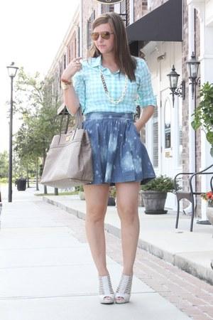 gingham Jcrew shirt - denim Express skirt - strappy Aldo heels