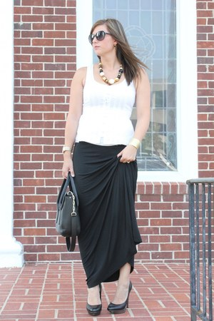 black maxi asos skirt - ivory lace Express shirt