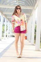 light yellow floral JCrew shirt - pink cuffed Express shorts