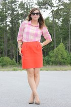 carrot orange pleated kate spade skirt - bubble gum gingham J Crew shirt