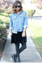 denim jacket thrifted jacket - velvet Forever 21 dress - zeroUV sunglasses