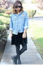 Velvet-forever-21-dress-denim-jacket-thrifted-jacket-zerouv-sunglasses