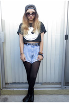 diy crop top Walmart shirt - Urban Outfitters hat - Forever 21 tights