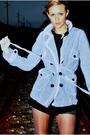 Black-forever-21-dress-blue-bcbg-coat-gray-used-stockings-peacock-feather-
