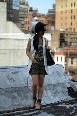 rag &amp; bone boots - Zara jacket - APC shorts - vintage top