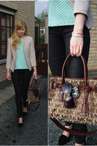 mint asos sweater - shiny H&M jeans - H&M blazer - Michael Kors bag