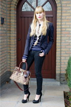 brown Michael Kors bag - black Levis jeans - H&M blazer - navy striped H&M shirt