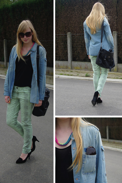 denim Forever 21 blouse - snake print H&M jeans - neon H&M necklace