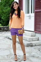 Zara sweater - Guess bag - Zara shorts - Zara heels