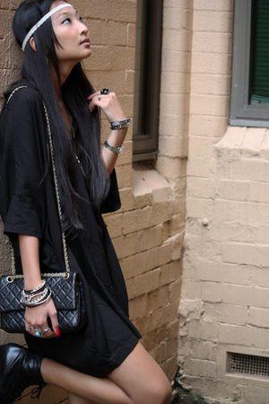 black joshua and sean dress - black vintage boots