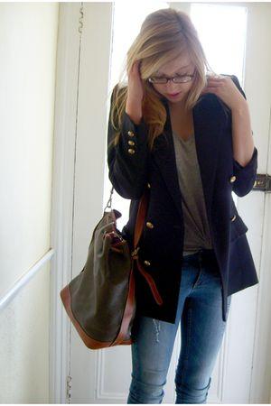 charity shop blazer - Mulberry purse