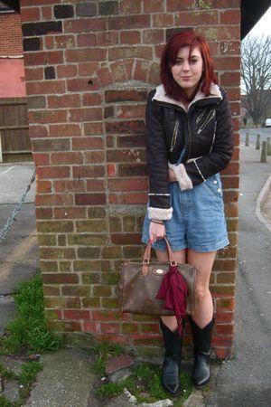 black Cowboy Boots boots - brown vintage purse - blue Paris Boutique shorts - gr