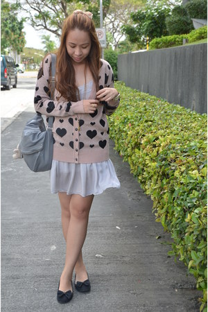 silver Topshop dress - heather gray H&M bag - light pink hongkong cardigan