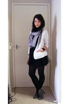 black supre dress - white Valleygirl blazer - gray Sportsgirl scarf - black diva