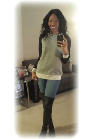 JCPenney sweatshirt - Victorias Secret boots - skinny jeans H&M jeans