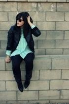 Diane Von Furstenberg blouse - H&M jacket - Forever21 tights - vintage boots