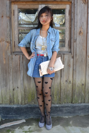 Forever 21 shirt - gift shorts - Forever 21 stockings - Aldo pumps - Accessorize