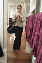 brown pants - beige tweed Kasper blazer - brown hobo Gucci purse