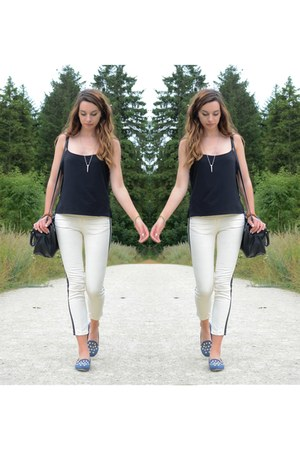 black Mango bag - neutral Zara jeans - black cami charity shop top