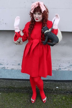 red dalmatians 1960s shoes - red 1960s coat - red We Love Colors tights - black