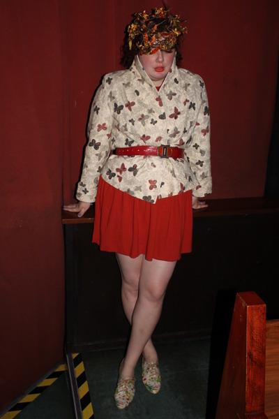 red dress - white 1950s vintage coat - orange 1950s vintage Lilly Dache hat