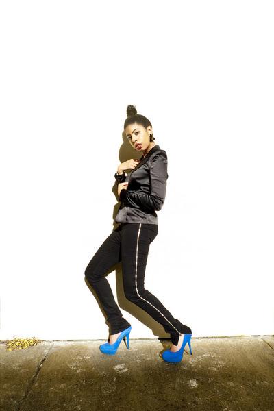 Balmain jacket - Melody Ehsani earrings - Silence & Noise pants - Steve Madden s