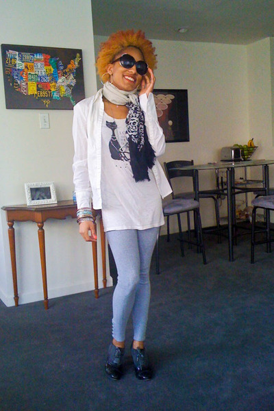 Pink Rose leggings - light flowy H&M shirt - H&M shirt - coach heels - H&M brace