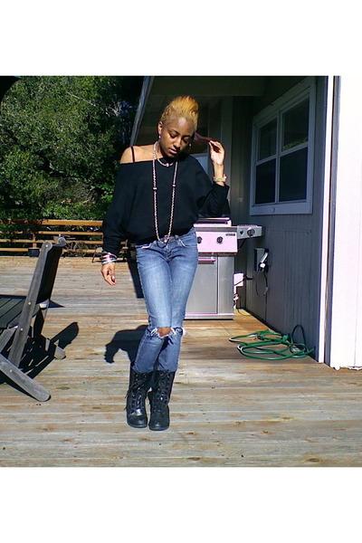 black Moda boots - black Z Gallery shirt - silver H&M bracelet - blue ripped jea