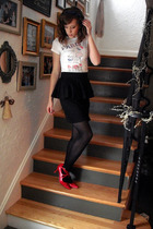 white Forever 21 shirt - black Forever 21 skirt - red random brand shoes - purpl