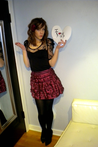 black Forever 21 dress - pink Forever 21 skirt - black Forever 21 tights - silve