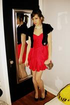 black Forever 21 - red Forever 21 dress - white vintage necklace - silver vintag