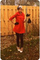 white Forever 21 shoes - orange Tulle coat - black Forever 21 leggings