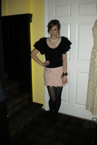 black cardigan - pink dress - black tights - white necklace