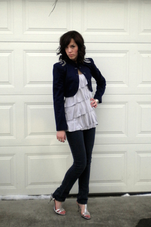 gray Express shirt - blue Forever 21 jacket - silver payless shoes