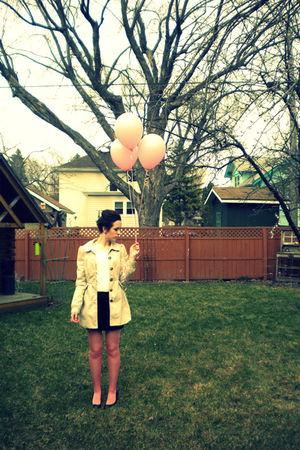 beige H&M coat - black Forever 21 skirt - pink H&M tights