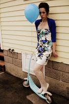 blue Forever 21 sweater - blue Forever 21 dress - white Forever 21 tights - whit