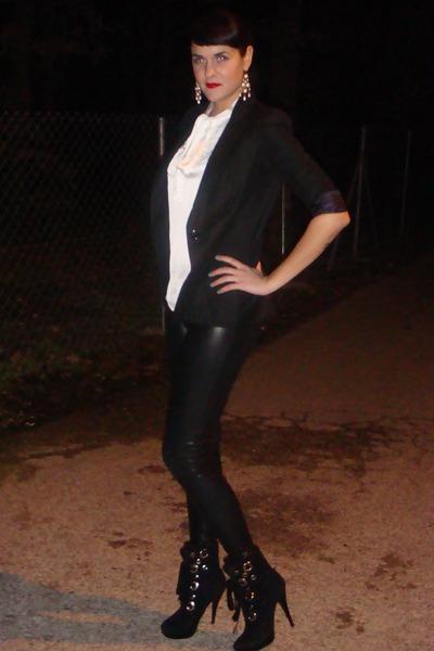 Bershka leggings - Bershka blazer - Calliope blouse - unknown brand heels - Acce