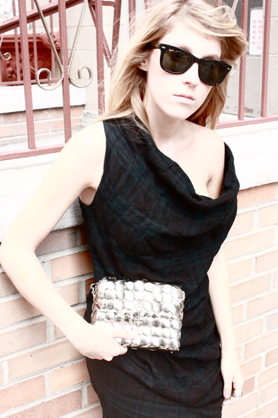 black Raybans sunglasses - silver vintage purse - green allsaints dress