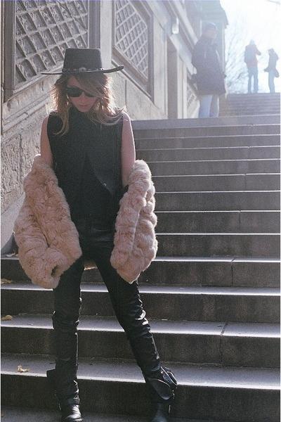 vintage fur coat - Dolce Vita boots - Stetson hat - Alexander Wang vest