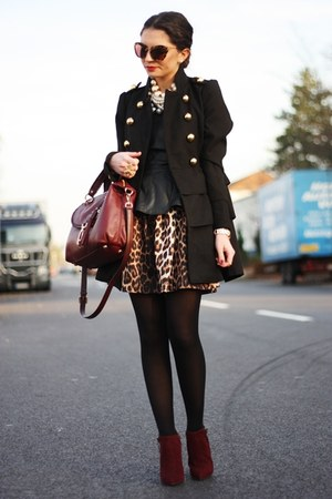 brick red Carvela boots - brown Topshop dress - black romwe shirt