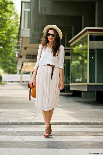 camel H&M hat - white Zara shirt - brown Ebay bag - brown Zara wedges - nude H&M
