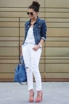 turquoise blue Prada bag - eggshell H&M pants - pink Steve Madden sandals