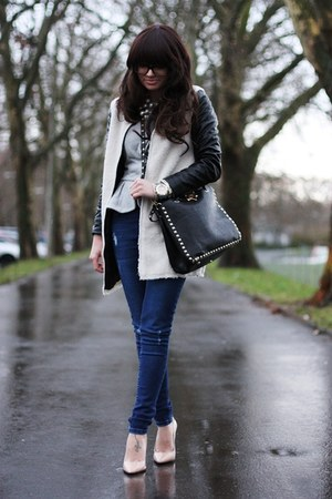 black lookbookstore coat - navy Oasis jeans - silver asos blazer