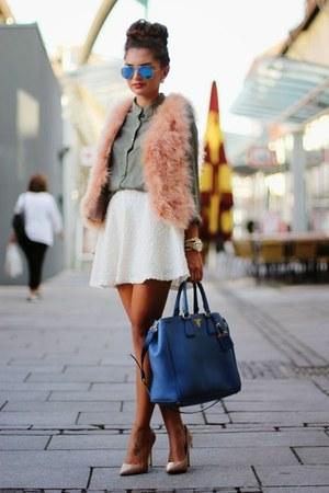 blue Prada bag