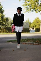 black H&M sweater - hot pink romwe bag - off white H&M blouse